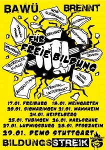 Plakat Bildungsstreik BaWü für die Januar-Demos im ganzen Land